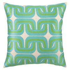 Trina Turk Pillow Embroidered Linen Geo Link Blue/Green
