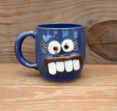 Mother's Day Mug. Mom's Coffee Cups. Not a Morning Person Monday Morning Mug. Funny Face Mugs for Her in Blue.