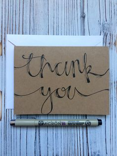 Hand Lettered Set of 5 Thank You Cards W Envelope. by AmourDeArt