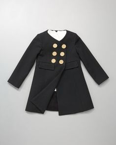 Riley Double-Breasted Coat & Ecru Hallie Bow-Neck Dress - Milly Minis
