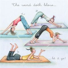 - The wind doth blow Yoga Cartoon, Happy Birthday Funny Humorous, Senior Humor, Funny Pix, Hilarious, Art Impressions Stamps, Crazy Friends, Positive Inspiration, Yoga Art
