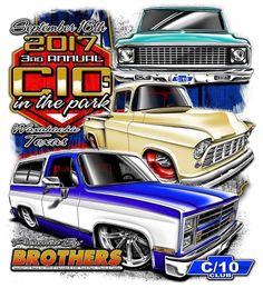 Showcasing the sickest Chevy trucks Chevrolet Silverado, Lowrider Art, C10 Trucks, Truck Art, Retro Shirts, Car Show, Muscle Cars, Vintage Cars, Flyers