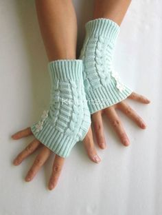 Mint  Knitted Arm Warmers  Fingerless Knit Gloves by knitwit321