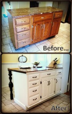 DIY kitchen island renovation I love the white cabinets with the dark hardware!
