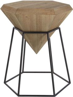 Decmode Modern 24 X 22 Inch Brown Hexagon Block Wooden Accent Table With Black Hexagonal Prism Frame Stand, Brown Buy Furniture Online, Furniture Deals, Luxury Furniture, Acrylic Furniture, Sofa End Tables, Frame Stand, Wood Accents, Grey Wood, Wood And Metal