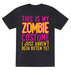Make Halloween easy on yourself this year with this funny zombie t shirt costume for people who want to put as little effort in as possible when making a Halloween costume! This clever lazy zombie costume is perfect for last minute halloween ideas, shuffling around town looking for brains, doing the monster mash, going to a Halloween themed costume party, going trick or treating, and slowly turning into a limbing undead horror out for human flesh.