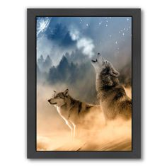 """East Urban Home 'Fantasy Wolf Wolves Animal' Framed Graphic Art Size: 25"""" H x 19"""" W x 1.5"""" D"""
