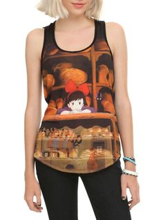 Racer back tank top with Kiki's Delivery Service themed sublimation print design on front.
