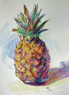 By Kelsey Hamersley. Painted with colored inks, using a brush. April I decided to experiment with inks a little, since I haven't used them much in washes and have, for the most part, stuck with. Pineapple Sketch, Pineapple Drawing, Pineapple Art, Pinapple Painting, Fruit Painting, Watercolor Sketchbook, Watercolor Cards, Sketchbook Inspiration, Painting Inspiration