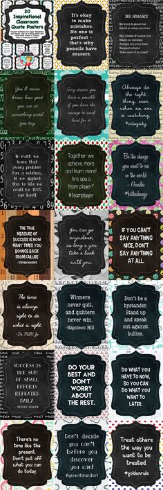 Inspirational Quotes for the classroom. Great for upper elementary grades middle school and high school classrooms. Chalkboard themed with rustic and modern elements. This comes with both filled chalkboard frames or white frames for less printing ink Inspirational Classroom Quotes, Inspirational Posters, Classroom Posters, Classroom Ideas, Quotes For The Classroom, Classroom Board, Future Classroom, Bulletin Boards, Elementary Schools