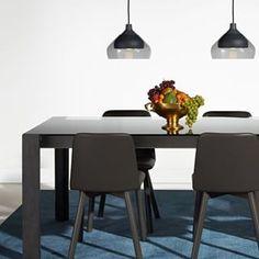 A smoke glass/smoke wood dining table