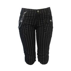 Chained Pinstripes Capri - Juniors Clothing > Bottoms & Jeans >... ($20) ❤ liked on Polyvore featuring shorts, pants, bottoms, jeans and capris