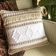 Crochet boho cushion in cotton yarn. The PDF crochet pattern for this design will be available soon. Boho Cushions, Crochet Cushions, Cushion Inserts, Cushion Covers, Crochet Designs, Crochet Patterns, Crochet Cushion Cover, Bohemian Decor, Etsy Handmade