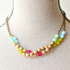 Double Chunky Beaded Necklace Pink by NestPrettyThingsShop on Etsy, $50.00