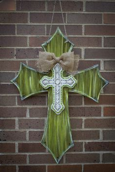 distressed wooden painted cross