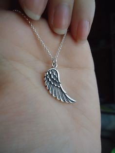 925 Sterling Silver Angel Wing Pendant Charm Necklace op Etsy, 20,77 €