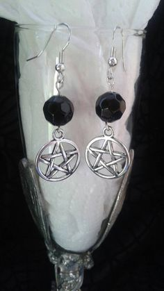 Enchanted Obsidian Protection Pentagram by SpeakingofWitchWands