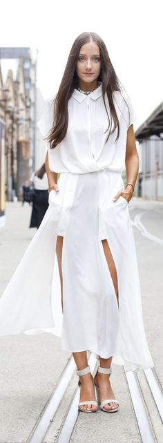 30+ Real Women With Gorgeous Street Style Inspiration for Spring and Summer: white midi skirt, button-down and white sandals