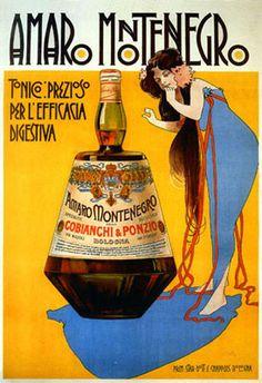 Vintage Italian Posters ~ #illustrator #Italian #vintage #posters ~ Amaro Montenegro - Tonico prezioso   Marcello Dudovich