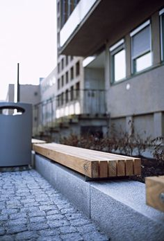 Exterior benches - Timber and granite block