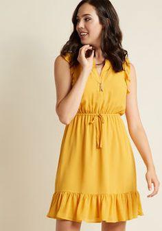 Sleeveless Chiffon Ruffle Dress in Goldenrod