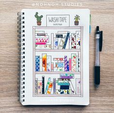 Washi Tape page in bullet journal. So creative! Washi tape made into books on bookshelves.