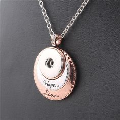 2 Color Fashion Beauty pendant Hope & Love Snap necklace