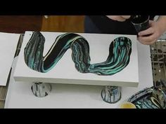(69) Acrylic Dirty Pour with Turquoise, Black, and Gold - YouTube