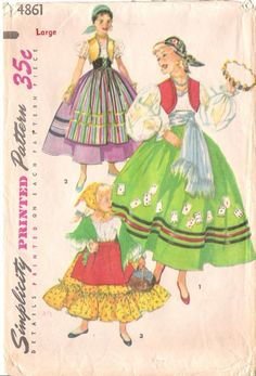 Items similar to Simplicity 4861 Child Gypsy Costume, Spanish Girl Costume, Peasant Costume, Dress Up Costume Sewing Pattern Size Small Vintage on Etsy Dress Up Costumes, Girl Costumes, Vintage Costumes, 1950s Costumes, Ballet Costumes, Country Style Dresses, Spanish Gypsy, Gypsy Costume, Spanish Girls
