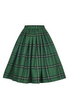 Collectif Vintage Jasmine Evergreen Check Swing Skirt - Collectif Vintage from Collectif UK