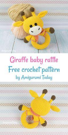 Giraffe Baby Rattle Crochet Free Pattern - Amigurumis & Co. - Giraffe Baby Rattle Crochet Free Pattern - Amigurumis & Co. Crochet Baby Toys, Crochet Bear, Crochet Baby Booties, Baby Blanket Crochet, Free Crochet, Crochet Giraffe Pattern, Crochet Patterns Amigurumi, Amigurumi Giraffe, Baby Rattle