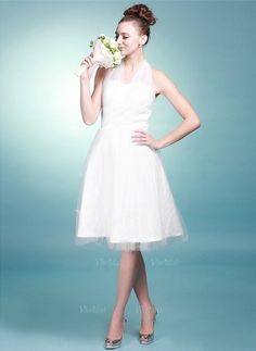 Wedding Dresses - $100.99 - A-Line/Princess Halter Knee-Length Satin Tulle Wedding Dress With Ruffle (0025056885)