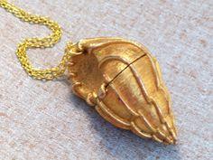 Vintage Sea Shell Perfume Locket Rare Estee Lauder by LoveLockets