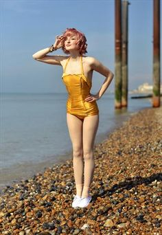 Rare GOLD 1950s Vintage Swimsuit