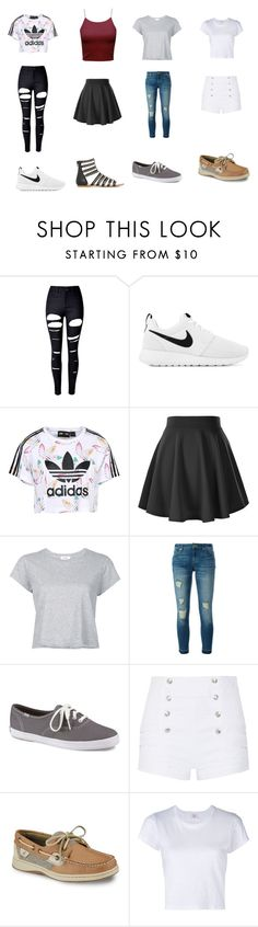 """Picture taking outfit ideas😊😊😊😊👌🏿👌🏿👌🏿👌🏿"" by qveenkenya16 ❤ liked on Polyvore featuring WithChic, NIKE, adidas Originals, RE/DONE, MICHAEL Michael Kors, Keds, Pierre Balmain and Sperry"