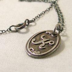 Wax Seal Jewelry Monogram Necklace Silver Wax Seal by lukelys, $47.00