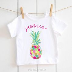 Tropical Funky Pineapple personalised T-shirt  baby shower