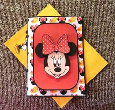Minnie Mouse birthday card with matching envelope.