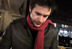 James in a red scarf & leather jacket in New York (Hitchcock Q&A)