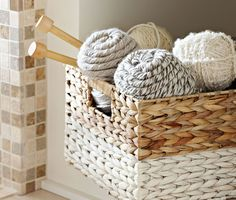 Give an ordinary woven basket a facelift with spray paint.