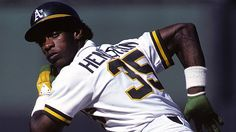 """this-day-in-baseball: """" December 1958 All-time career stolen base leader outfielder Rickey Henderson is born in Chicago. The 'Man of Steal' will end his Hall of Fame career with Nationals Baseball, Baseball Players, Baseball Live, Baseball Hats, Mlb, Rickey Henderson, Pro Basketball, Sports Images, The Outfield"""