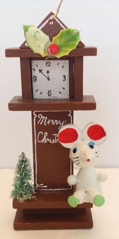 Vintage Christmas Ornament Clock Mouse Wood Bottle Brush Tree