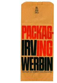 Bag design by Tony Palladino for packaging designer Irvin Werbin.