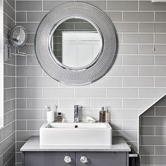 Modern grey bathroom with round mirrors | Bathroom decorating | Ideal Home | Housetohome.co.uk