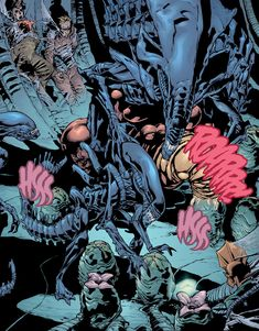 The Alien Queen tends to her victims in the hive in Green Lantern vs. Predator Series, Predator Alien, Alien Hive, Alien Queen, Aliens Movie, Alien Art, Xenomorph, Dark Horse, Blessings