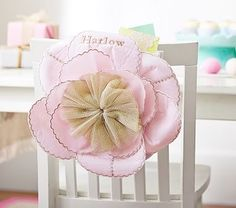 Flower Chairbacker // Dress up your child's chair for Easter and other special occasions with this pretty fabric blossom. It fits easily onto most chair backs and can be used again and again.