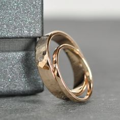 Rose Gold Wedding Band Set 2mm and 5mm Rings 18K by seababejewelry