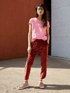 madewell femme tee worn with track trousers, madewell x tretorn sneakers + fair isle ankle socks.