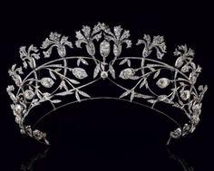 Carnation Tiara (ca. 1908; made by Chaumet; diamonds).