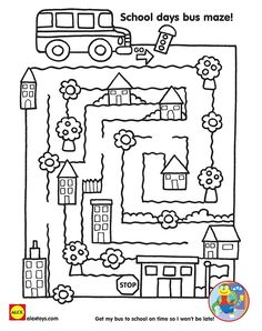 Get kids prepared about the back to school season with fun free printables! Preschool Curriculum, Preschool Worksheets, Preschool Activities, Teaching Safety, School Bus Safety, Maze Worksheet, Transportation Activities, Mazes For Kids, Alex Toys